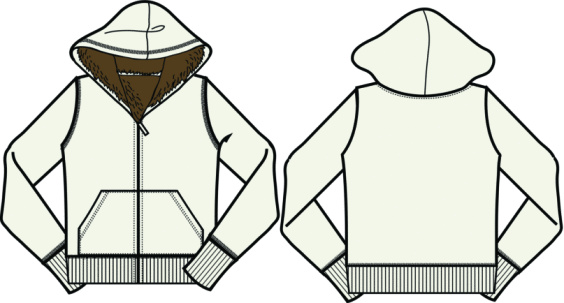 Front and Back of Artist Rendition of Hoodies : In Black and White